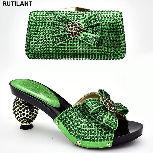 Nueva llegada Zapatos y bolsos de diseño italiano a juego Conjunto decorado con zapatos y bolsos con diamantes de imitación Conjunto africano 2019 Zapato de fiesta
