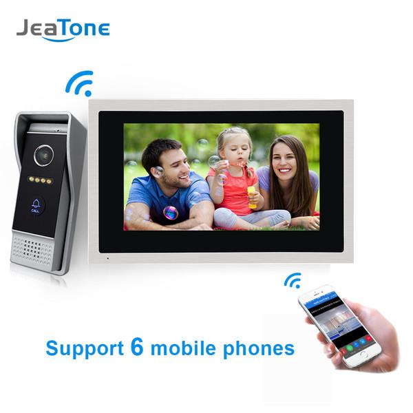 JeaTone 10 polegada WI-FI Sem Fio IP Telefone Video Da Porta Intercom Touch Screen Monitor Sistema de Controle de Acesso de Detecção de Movimento de Segurança Em Casa