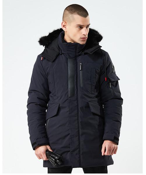 EU Style Winter Thick Down Coats Jackets for Men Hooded Fur Designer Jacket Middle Long Windbreaker Outwear