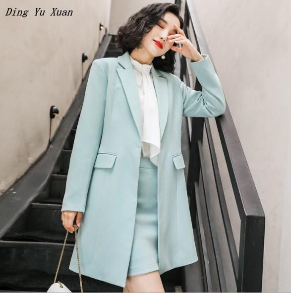 Oficina de señora Slim Ropa formal Escudo de trabajo a largo Fosa de manga larga para mujer rompevientos Blazer Femme caqui Rojo Amarillo Azul Blazers