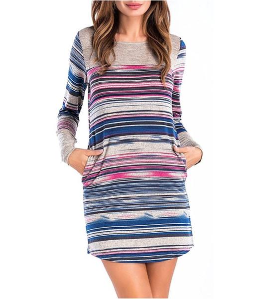 Femmes Crew Neck Dress 2017 Automne Nouvelle Arrivée De Style De Mode À Manches Longues Rayé Slim Robes Dames Sexy Clubwear CL364