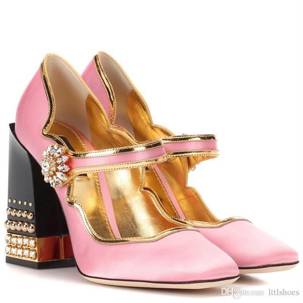 Brand New Design Lolita Style Pink Satin Mary Jane Shoes Thick Chunky Jewelry Heel Rhinestone Buckle Women Pumps