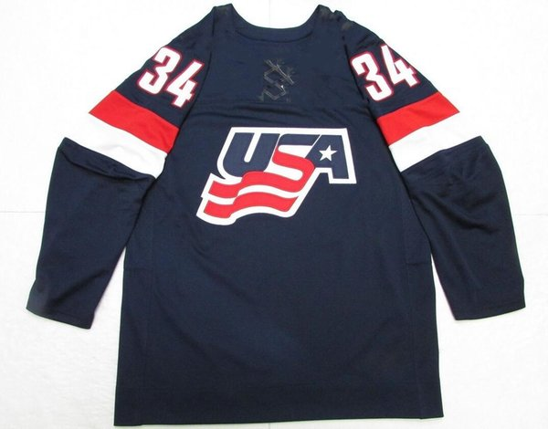 AUSTON MATTHEWS TEAM USA hockey jersey Embroider stitched Customized Any Name And Number