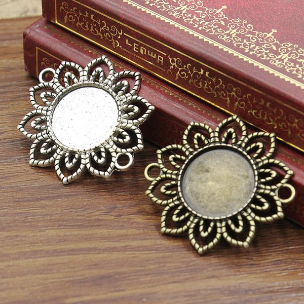 ewelry Accessories Jewelry Findings Components Fit 18mm Round Cabochons Cameo/Glass/Cabochon Frame bezel Settings Connector Tray blank DI...