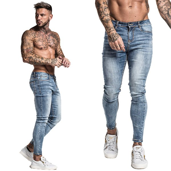8e579ac447 Mens Skinny Jeans 2019 Super Skinny Jeans Men Non Ripped Stretch Denim  Pants Elastic Waist Big Size European W36 Zm01 Q190415