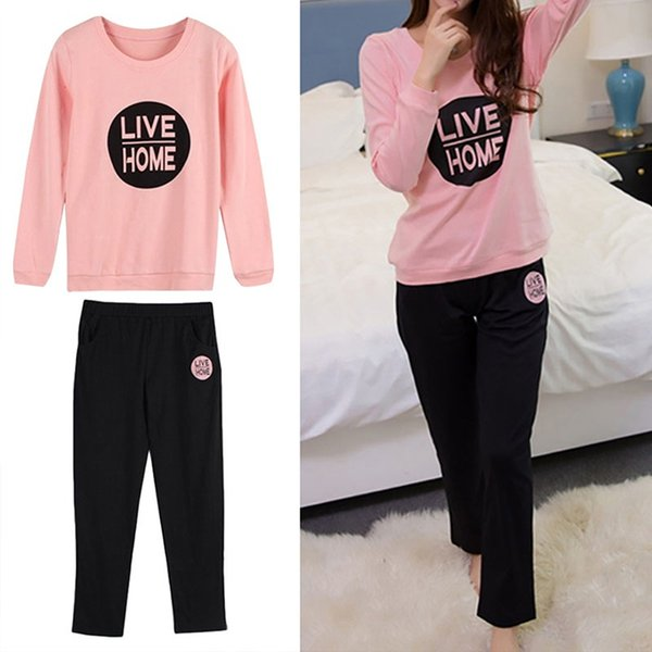 Best Selling 2pcs Suit Women Nightwear Set Newest tops+pants Fashion Letters Print Long Sleeve Pajama Set Big Size Home Clothes