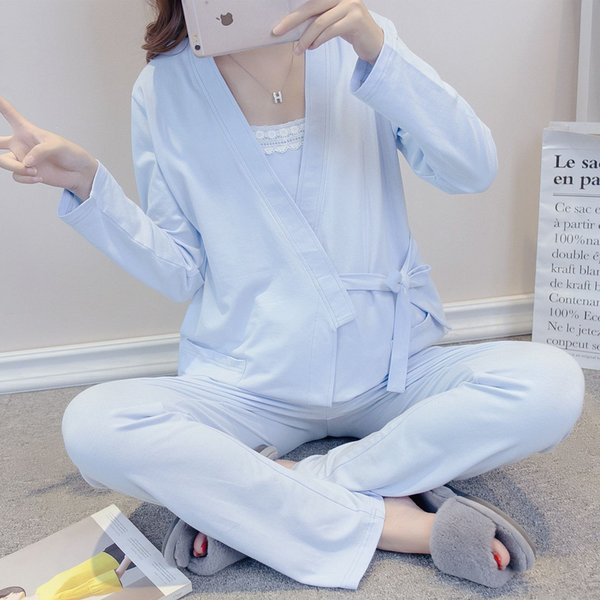 3Piece/7669 Spring Autumn Maternity Nightwear Pregnancy Clothing Set Cotton Pregnant Pyjama Nursing Clothes Breastfeeding Suit