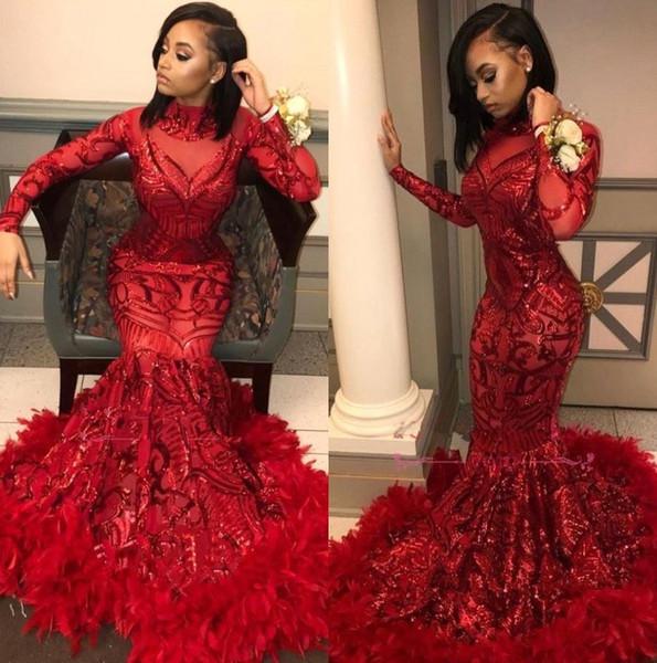 Pizzo rosso sirena lunghi abiti da ballo 2019 maniche lunghe paillettes applique piuma sweep treno formale abiti da sera partito abiti BC1327