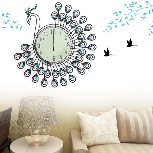 Großhandel Große 3D Wanduhr DIY Pfau Kristall + Glas + Metall Wanduhren  Wohnzimmer Dekor Moderne Dekor Kunst Geschenk 54 * 54 CM Von Jasm, $47.21  Auf ...