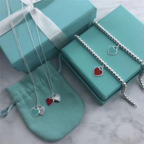 Luxus Designer Schmuck Frauen Armbänder Sterling 925 Armband Mini Herz Tag Silber Charme Perlen Armbänder T Schmuck für Frauen Rot Blau