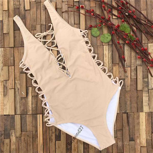 2018 Strappy Tek Parça Kesip Yastıklı Biquini Mayo Seksi Mayo Kadın Lace Up Monokini Vintage Çıplak Bodysuit Kadınlar