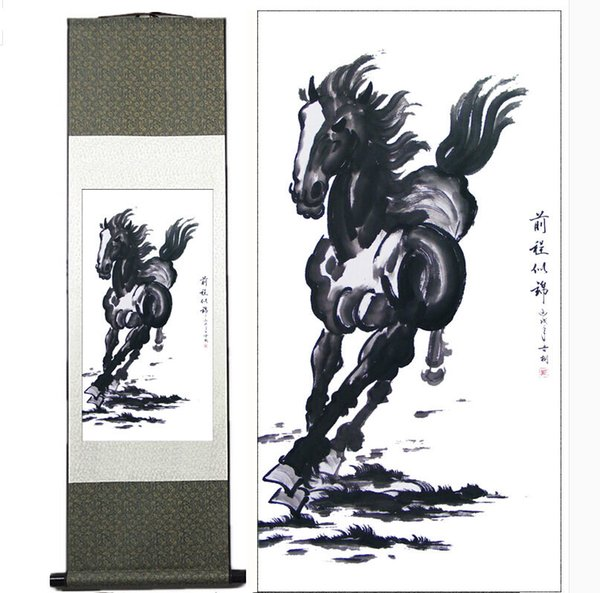 Traditional Chinese Art Painting Horse Silk Scroll Art Painting Horse Picture Roll Of Silk