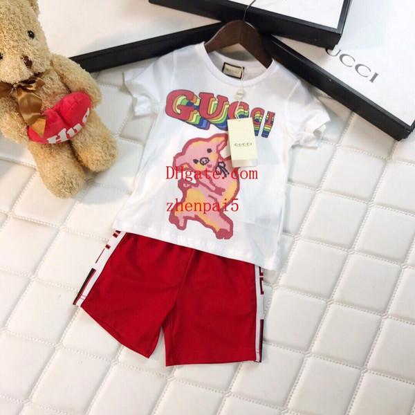 Nuevo 2pcs ropa para niños Estilo simple niñas niños Verano de manga corta camisetas de impresión Tops + shorts traje de ropa para niños B-T5
