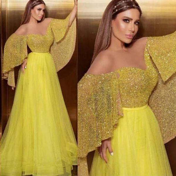 Новейшие желтые прозрачные шеи Арабский Дубай Пром Платья с блестками с коротким рукавом из тюля Юбка Вечернее платье плиссированная юбка Длинное коктейльное платье