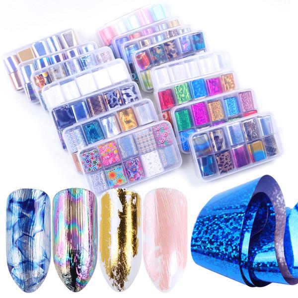 1 Caixa Misturada Starry Sky Prego Foil Set Deslizante Champanhe Holográfica Cola Adesivo de Transferência de Papel Wraps Nail Art Decorações JI934