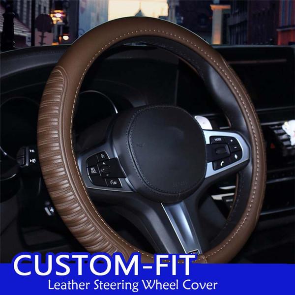 Lederautolenkradabdeckung für Volkswagen VW Golf 4 6 7 GTI Tiguan Passat B5 B6 B7 CC Größe M 38cm Lenk Abdeckung