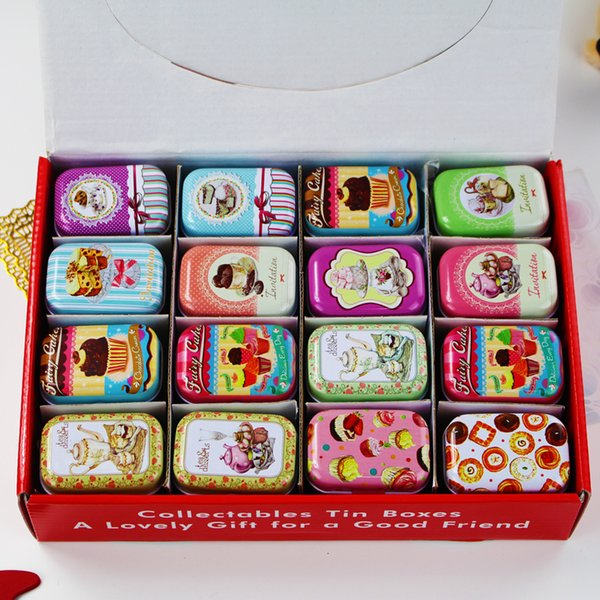 32 Pieces/set Mini Makeup Organizer Tin Diy Storage Square Lipstick Small Tea Box Candy Case American Style J190713