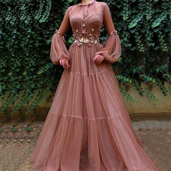 Blush Muçulmanos Vestidos de Noite 2019 A-Line Mangas Compridas Flores Tule Islâmico Dubai Kaftan Arábica Saudita Elegante Longos Vestidos de Noite