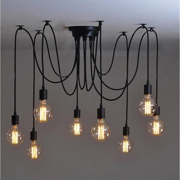 Retro Edison Bulb Art Spider Pendant Chandelier Vintage Loft Antique Diy E27 Ceiling Lamp Fixture No Bulbs Ac110 240v Modern Pendant Lights Kitchen