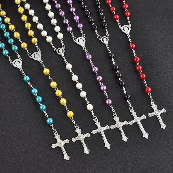 Cadena larga Rosario Cruz collares pendientes de perlas de imitación de joyería de acero inoxidable borla larga cristiana para las mujeres de moda