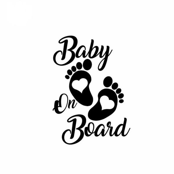 Sticker voiture de vinyle pour bébé à bord noir / argent ca-591