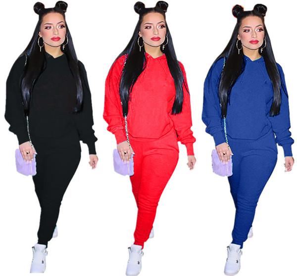 Brand Designer women winter outfits hoodie jogger two Piece set sweatshirt leggings sportswear bodycon pant tights hoodies tracksuit sale