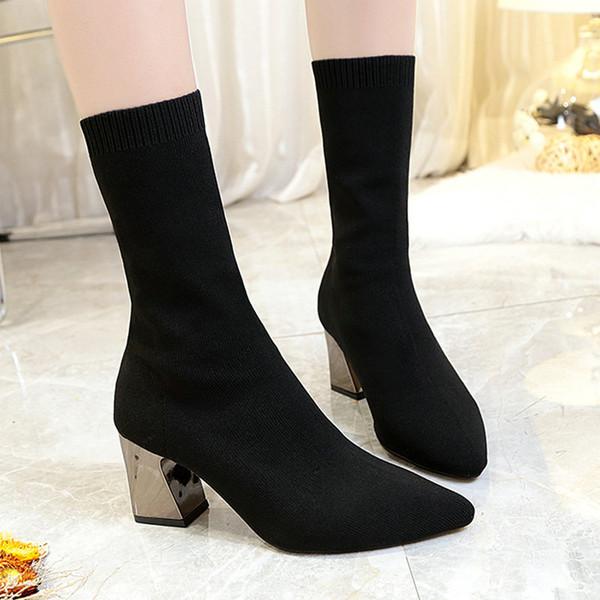 size 35-55 nice new vogue mid calf boots women autumn ins popular platform shoes woman highheels ladies career dress boot