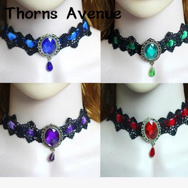 Nuova moda nero rosso verde blu colore viola girocolli in cristallo di pizzo collane bohemien da sposa per le donne gioielli