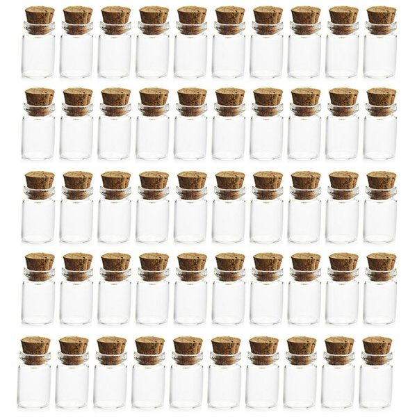 wholesale 50Pcs 1ML Mini Glass Bottles small with Cork Stoppers Empty Sample Storage Jars 11*22MM Small Gift Containers hot