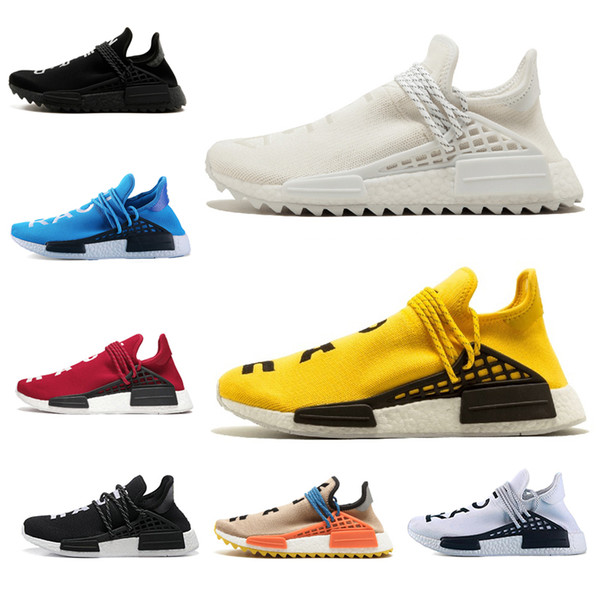 cheap sale human race Men Women Running Shoes Hu trail pharrell williams Cream black white Sneaker mens Trainer Sports Casual Jogging Shoe