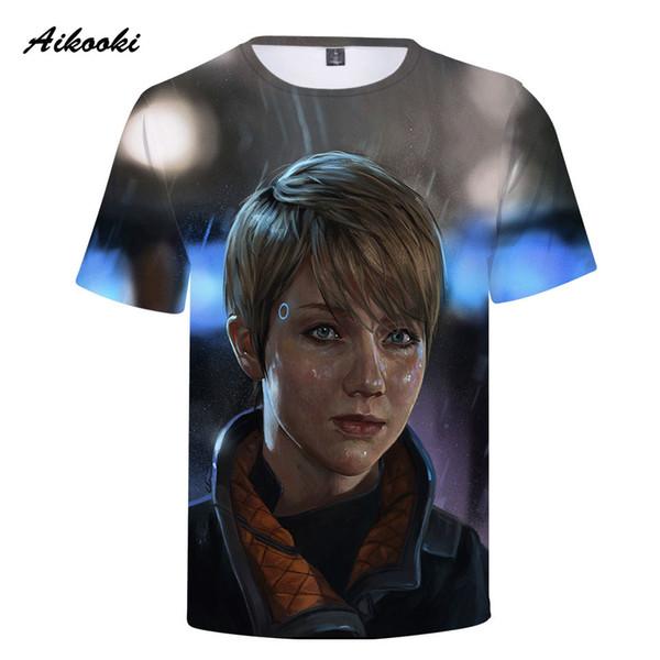 T-shirt 3D Detroit Devenir les hommes humains T-shirts Les nouveaux hommes d'été 3D à manches courtes Tshirt Tops Harajuku Mode Hommes / Femmes tees tops