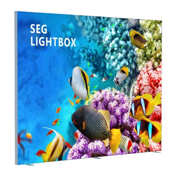 240x240cm Seg Edge-Lit Light Stand Stand Lados dobles Tableros de luz de tela con impresión personalizada Posters de tela Embalaje plano