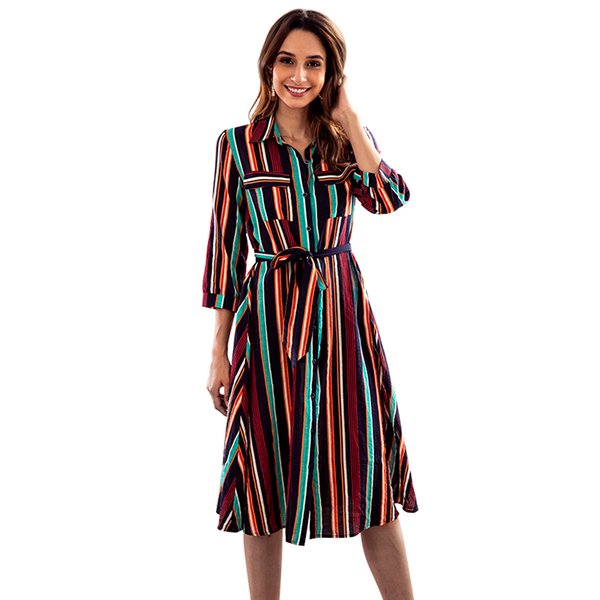 Women Causal Dress Multicolour Striped Pattern Knee Length Polyester Lapel Neck Latest Design S M L XL Leisure Shirt Dress