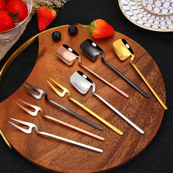 Edelstahl Kaffeelöffel Rührlöffel Teelöffel Eis Dessertlöffel Obst Gabel Geschirr Küchenwerkzeug cyq018