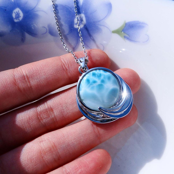 real natural larimar jewelry 925 sterling silver pendant with natural larimar pendant women charms 8.1g without chain
