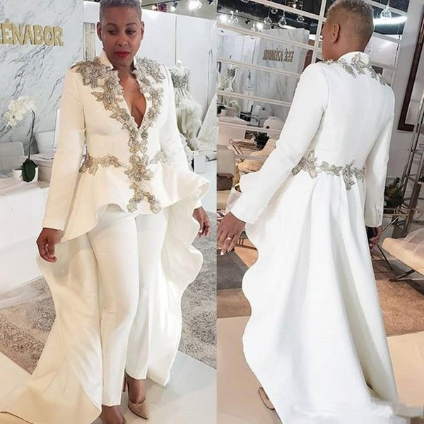 2020 White Jumpsuits Evening Dresess Beaded Long Sleeve Deep V Neck Prom Dress Custom Made Formal Party Gowns