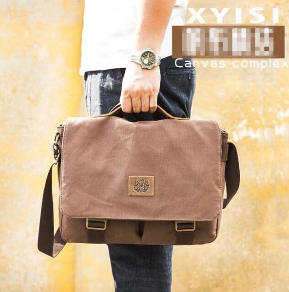 Wholesale brand men handbag fashion belt decoration men mailman bag outdoor canvas multifunctional shoulder bag casual leather Messenger bag