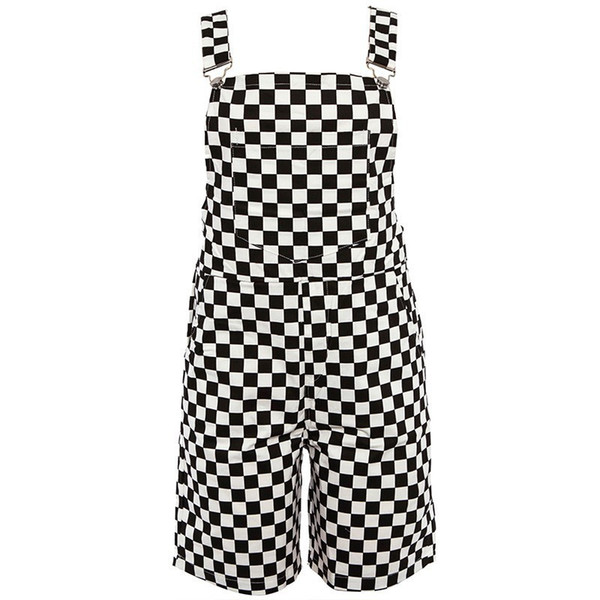 Checkerboard Overalls Shorts Women Casual Streetwear Harajuku Romper Jumpsuit Backless Strap Checkered Black White Playsuit Y19060501