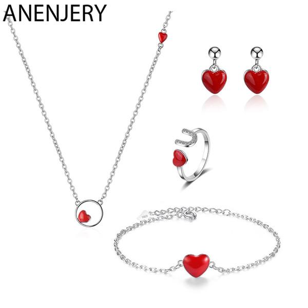 ANENJERY 925 Sterlingsilber-Schmucksachen stellen 4 Art rote Herz-Halskette + Earrings + Ring + Bracelet für Frauen-Mädchen-Geschenk ein