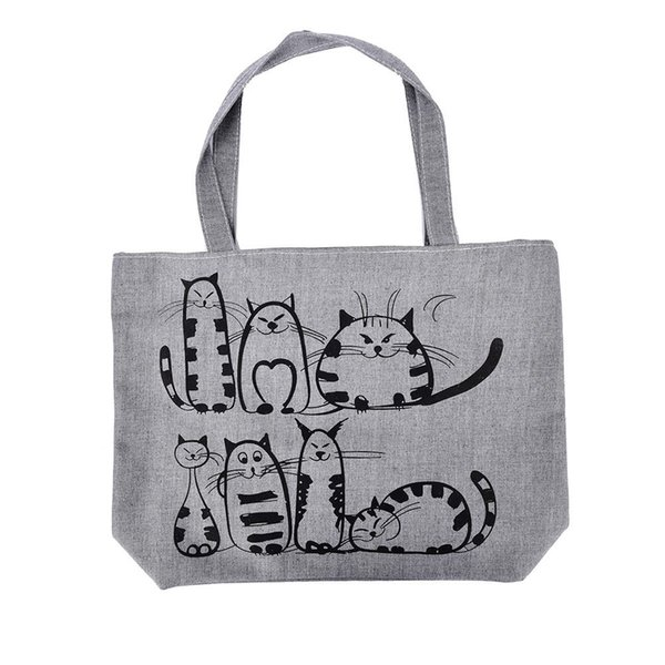 Cheap Fashion 1PCS Bolsa Feminina Canvas Tote Shopping Handbags sac a main femme de marque Women Cartoon Cats Printed Beach Zipper Bag