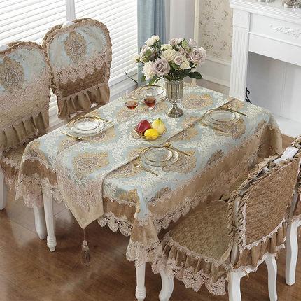 Europa de lujo mantel bordado mesa de comedor cubierta de tela de encaje tela de café en casa comedor mantel