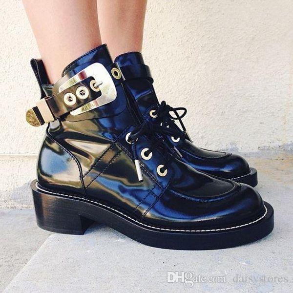 toka dışarı Motosiklet çizmeler punk Martin ayak bileği çizmeler sandalet siyah hakiki deri kadın yaz sandalet çizmeler ücret ...