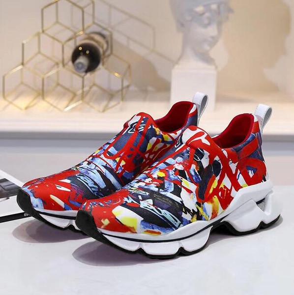 chaussures de marque haut classique véritable fond de Sneaker en cuir est rouge Hommes Femmes Mode Chaussures de plate-forme en cuir mariage plat parti Chaussures Casual
