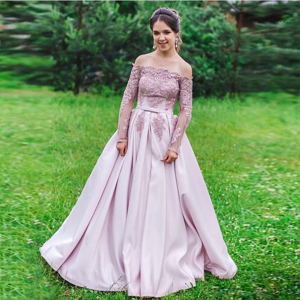 Dusty Pink Boat Neck A Line Prom Dresses With Long Sleeve Appliques Bow Tie Belt Graduation Gown Satin Pleat Skirt Long Prom Dress