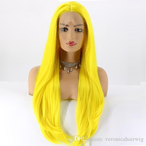 Moda Cosplay Halloween 180% Densità colore giallo lunghe naturali parrucche ondulate resistenti al calore parrucche sintetiche Glueless parrucche anteriori per le donne nere