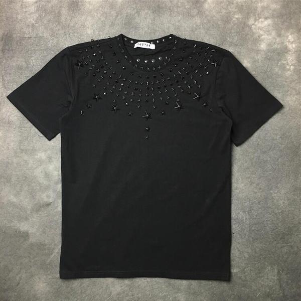 High New 19ss Men Metal Drill Hot Drill Rivet Star T Shirts T-shirt Hip Hop Skateboard Street Cotton T-shirts Tee Top #a86