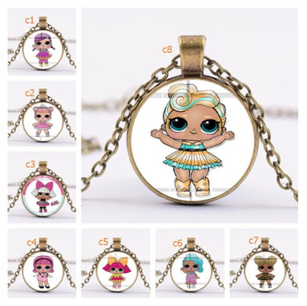 Surprise Girls Cartoon Glass Necklace 25mm Time Gem Jewelry Necklaces Kids Characters Sweater Chains Children Charms Pendant Decor A41005