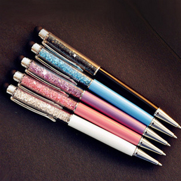 Tükenmez Kalem Kondansatör Dokunmatik Ekran Başkanı Metal Kalem Su Kristal Top Elmas Kondansatör Kalem Kırtasiye LOGO Özelleştirilebilir