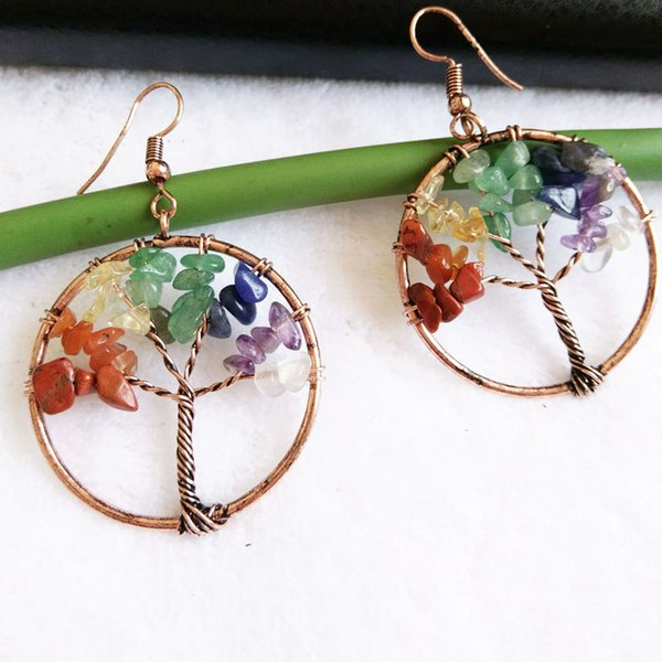 Tree of Life Earring Colorful Charm Dangle & Chandelier Life Tree Vintage Earrings Round Beads Women Natural Stone Wholesale Crystal Jewelry