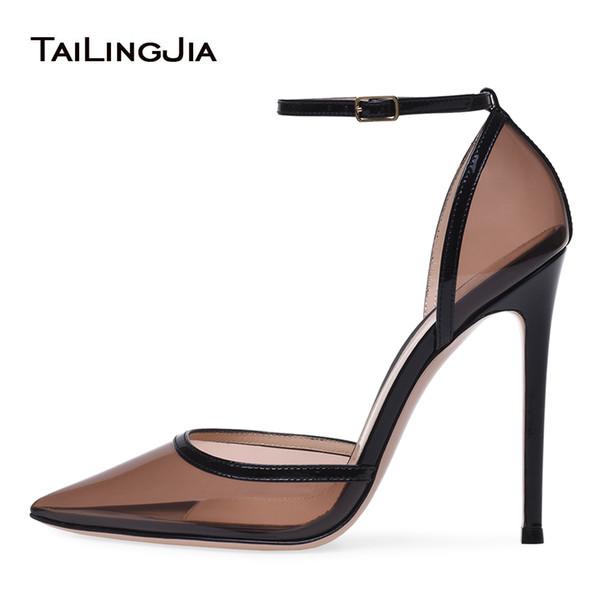 Compre Punta Estrecha Bombas De Tacón Alto De Las Mujeres Negro Transparente Sexy Tacón Vestido De Noche Zapatos Para Mujer Verano Tacones Claros De